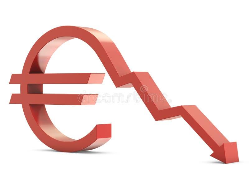 Euro teken met neer lijn vector illustratie