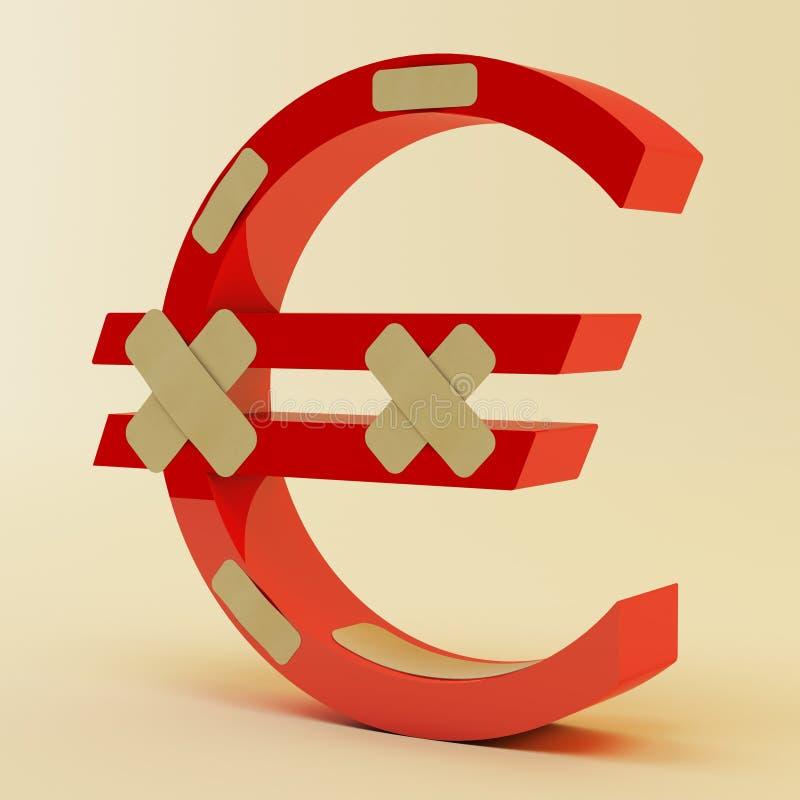 Euro teken met verband vector illustratie