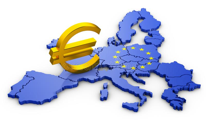 Euro teken op kaart royalty-vrije illustratie
