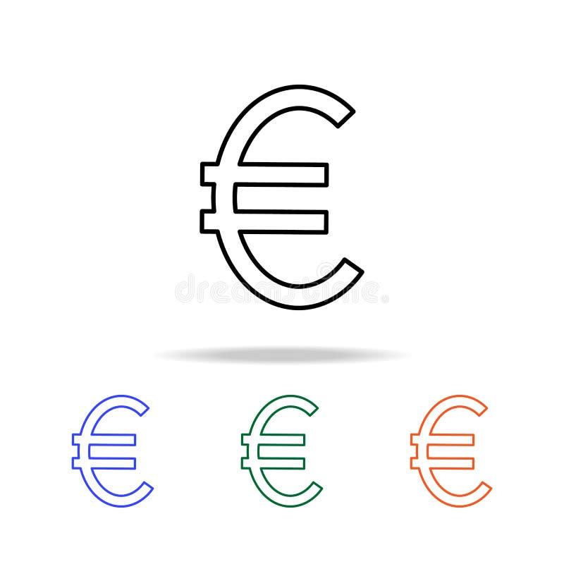 Euro tekenpictogram Elementen van eenvoudig Webpictogram in multikleur Grafisch het ontwerppictogram van de premiekwaliteit Eenvo royalty-vrije illustratie