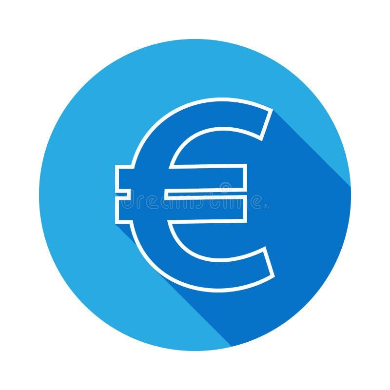 euro tekenpictogram met lange schaduw Dun lijnpictogram voor websiteontwerp en ontwikkeling, app ontwikkeling Premiepictogram op  stock illustratie