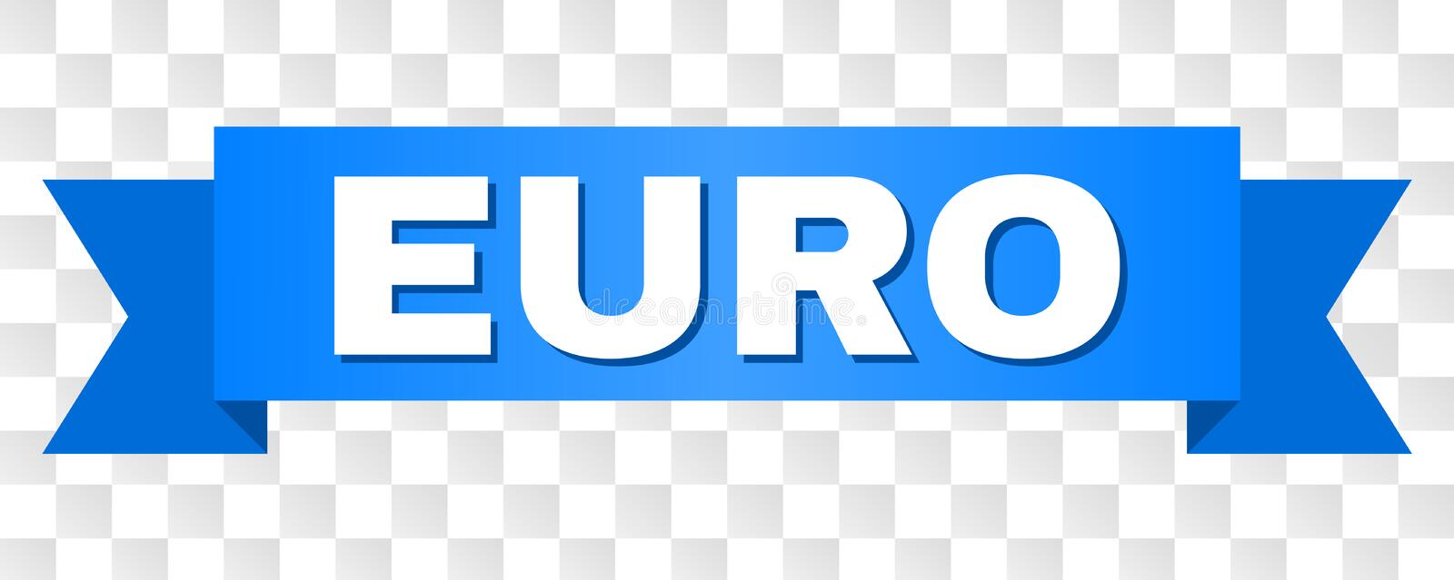 Blue Ribbon with EURO Caption. EURO text on a ribbon. Designed with white caption and blue stripe. Vector banner with EURO tag on a transparent background stock illustration