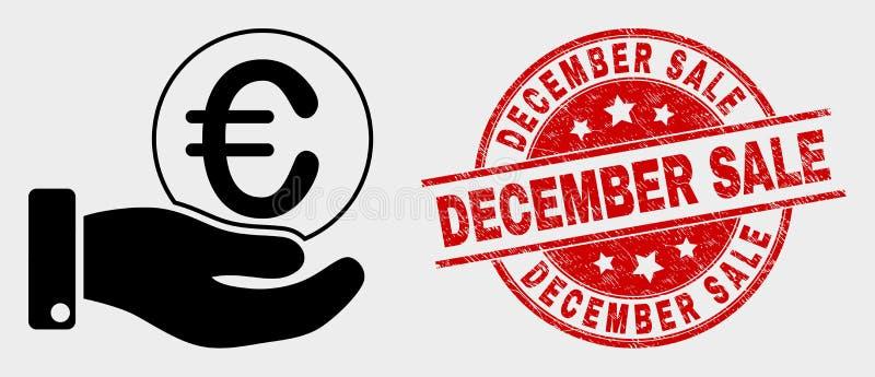Euro timbre de vente d'icône de main de donation de pièce de monnaie de vecteur et de décembre de détresse illustration stock