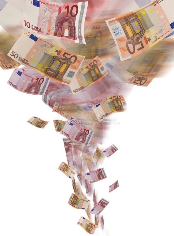 Euro tornado della banconota immagine stock