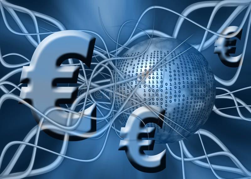 Euro, transferência de dinheiro. ilustração do vetor