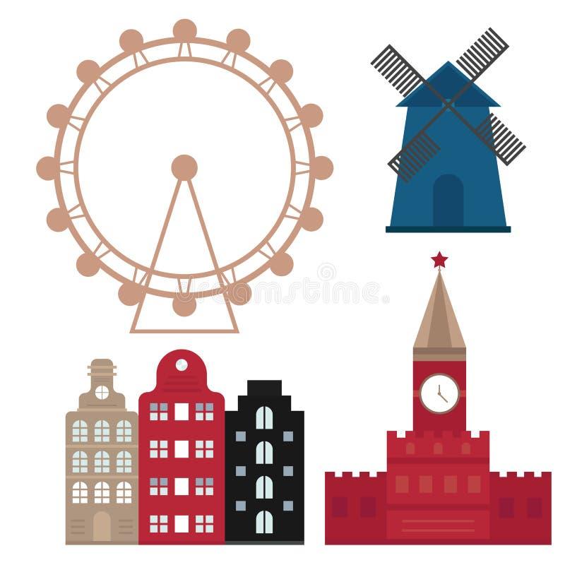Euro trip tourism travel design famous building and euro adventure international vector illustration. stock illustration