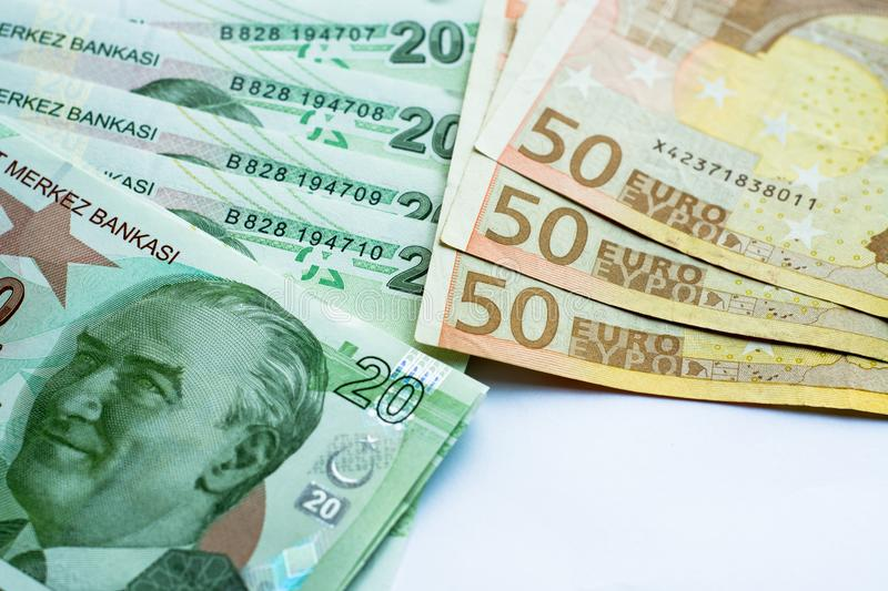 Euro and turkish lira royalty free stock photo