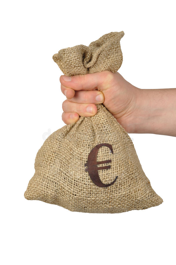 Euro in un sacchetto fotografie stock