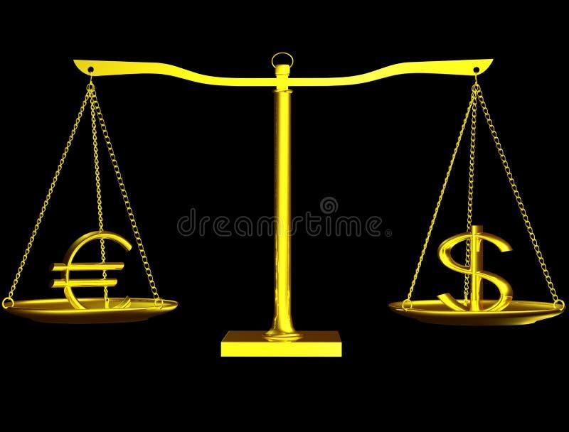 Euro und Dollar auf Schwerpunkt vektor abbildung