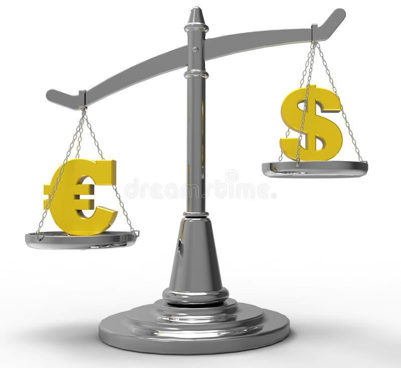 Euro und Dollar zusammengepaßt auf Skala stock abbildung