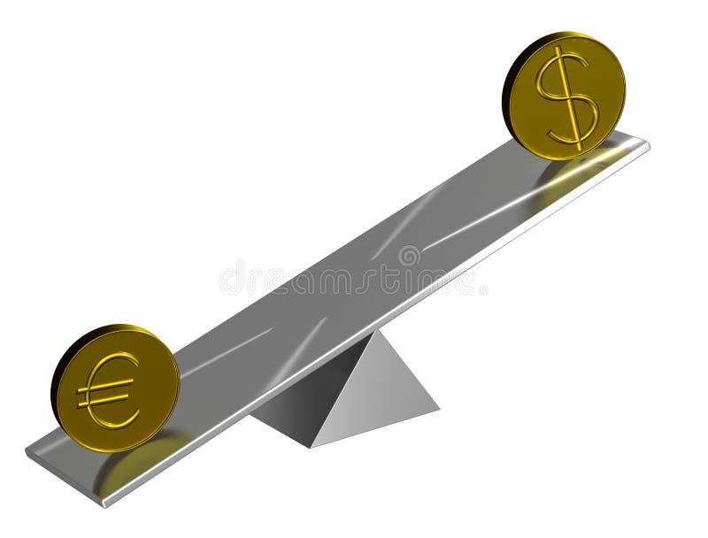 Euro- und Dollarkonzept lizenzfreie abbildung