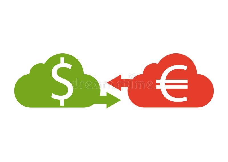 Euro- und Dollarwährung Vektor Geldwährungsbekehrter, Ikone lizenzfreie abbildung