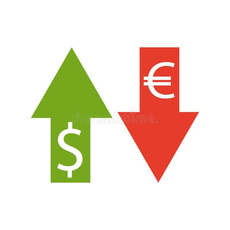 Euro- und Dollarwährung Vektor Geldwährungsbekehrter, Ikone stock abbildung