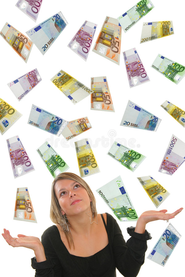 Euro und Mädchen stockfotos
