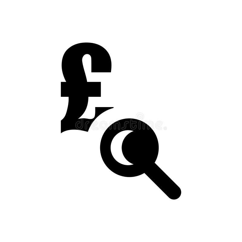 Euro under tecken för förstoringsapparatsymbolsvektor och symbol som isoleras på vit bakgrund, euro under förstoringsapparatlogob royaltyfri illustrationer