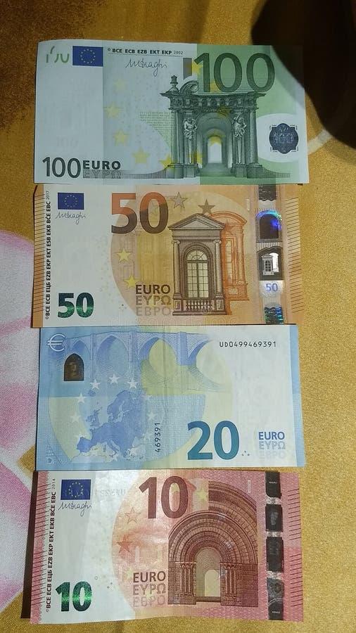 Euro 10,20,50,100 unii europejskiej waluta obrazy royalty free