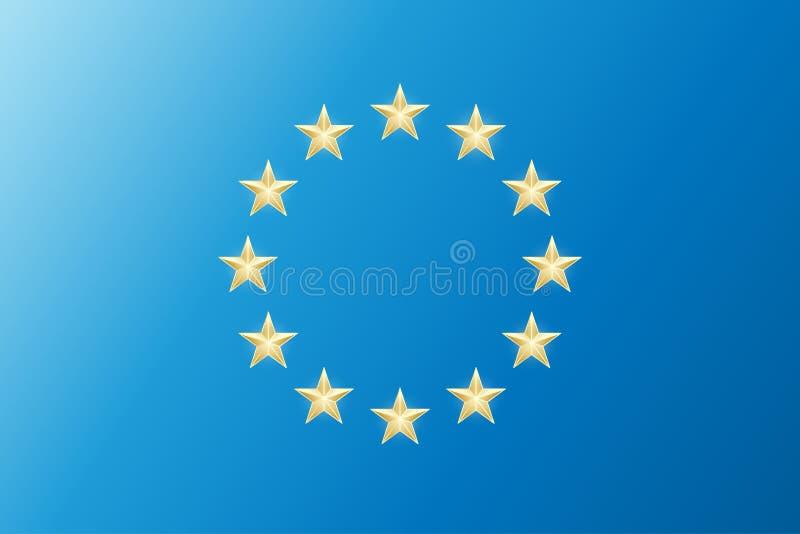 Euro union flag. Vector twelve european golden shapes stars isolated on a blue background. EU emblem sky.  royalty free illustration