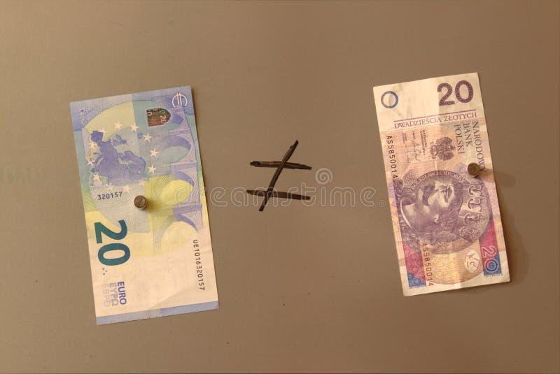 Euro valuta e zloty polacca fotografie stock