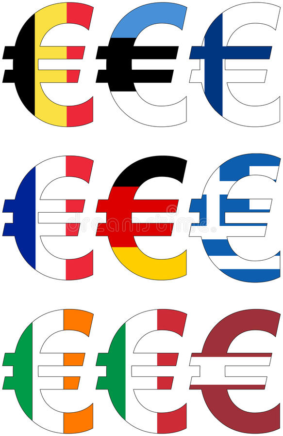Euro with various flags - set stock image