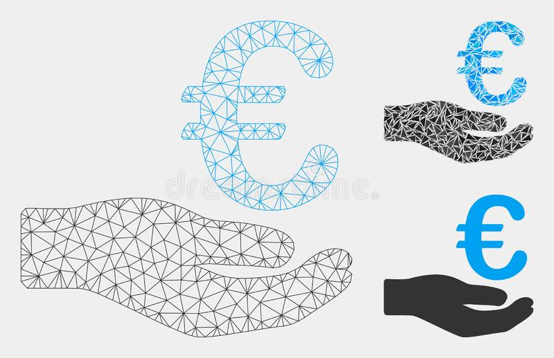 Euro vecteur Mesh Carcass Model de donation et icône de mosaïque de triangle illustration libre de droits