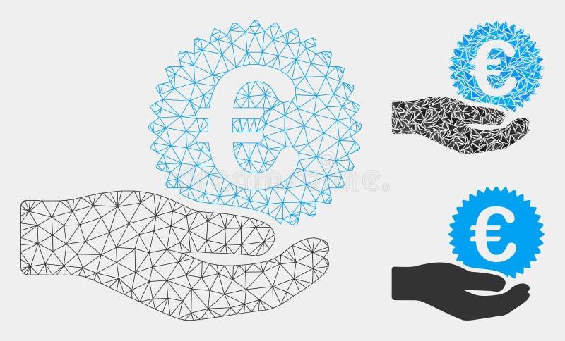 Euro vecteur Mesh Network Model de main d'offre de pièce de monnaie et icône de mosaïque de triangle illustration stock