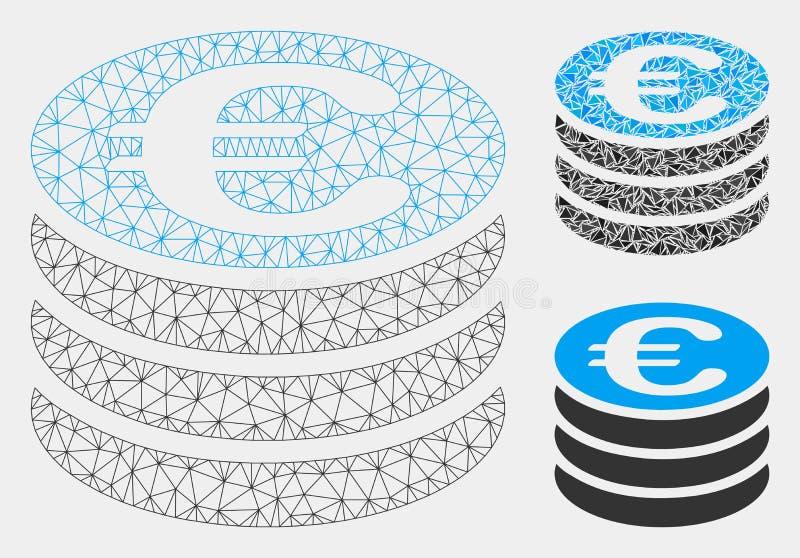Euro vecteur Mesh Network Model de pile de pièce de monnaie et icône de mosaïque de triangle illustration de vecteur