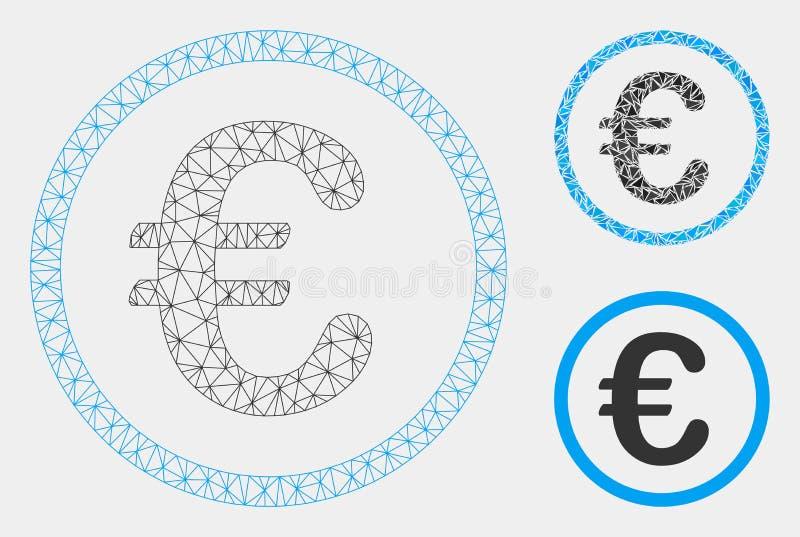 Euro vecteur Mesh Wire Frame Model de pièce de monnaie et icône de mosaïque de triangle illustration libre de droits