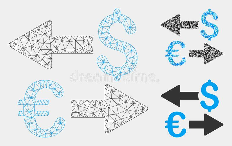 Euro vecteur Mesh Wire Frame Model de transactions du dollar et icône de mosaïque de triangle illustration stock