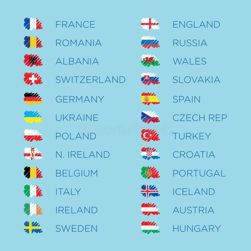 Euro vector het malplaatjereeks van 2016 bepalende woordenvlaggen royalty-vrije stock foto