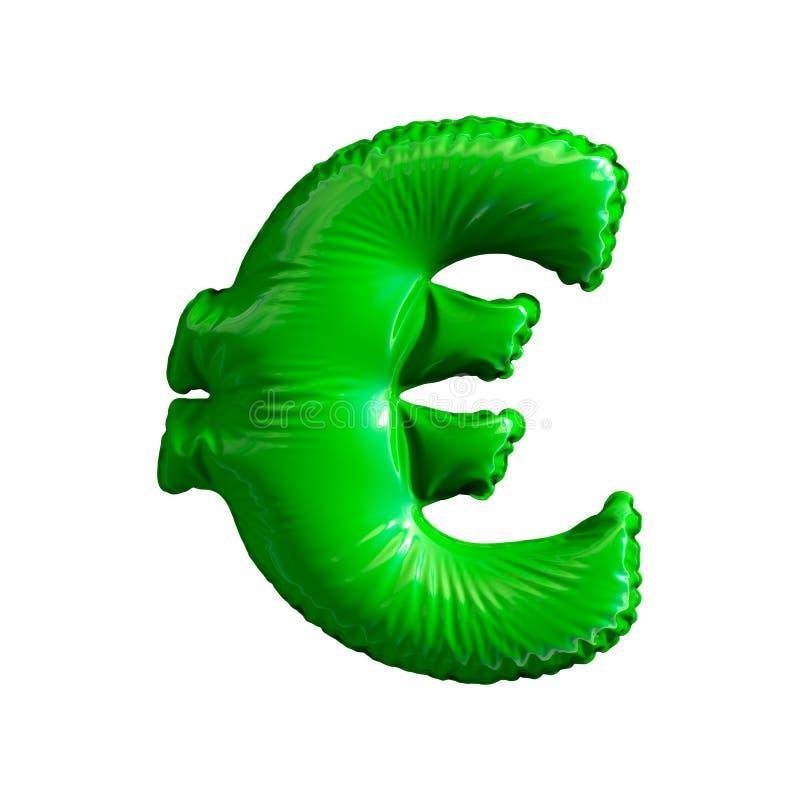Euro verde di simbolo fatto del pallone gonfiabile isolato su fondo bianco royalty illustrazione gratis