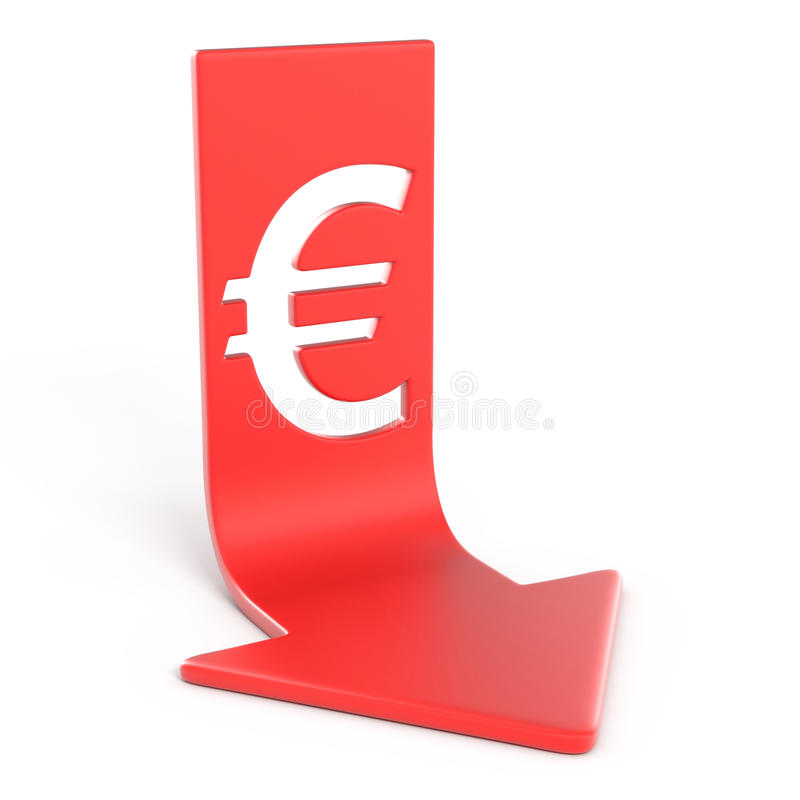 Euro vers le bas illustration stock