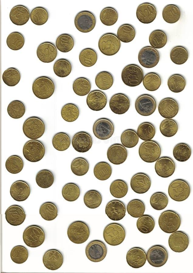 Euro-, verschiedene Münzen stockbilder