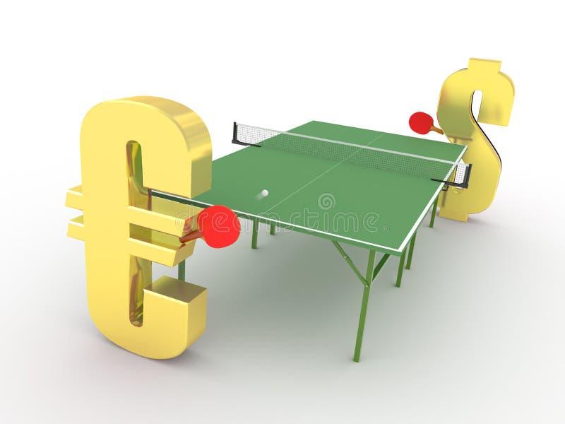 Euro versus de concurrentieconcept van de Dollar royalty-vrije illustratie