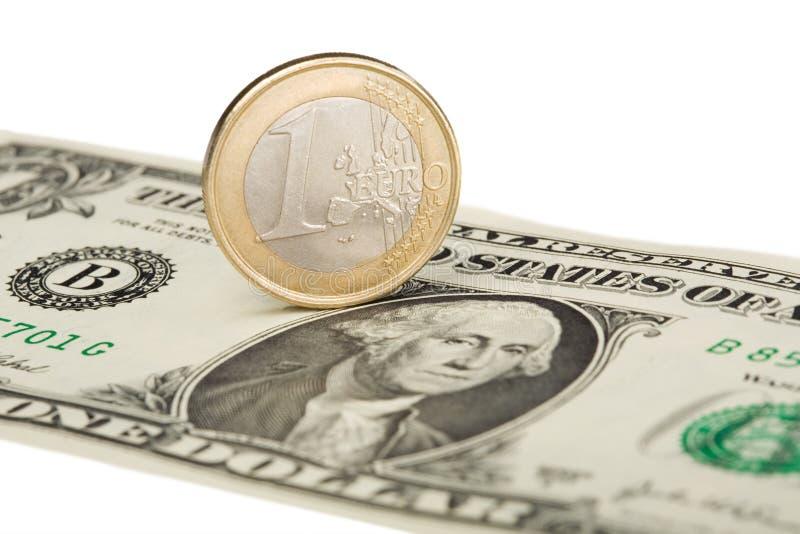 Euro versus dollar stock images