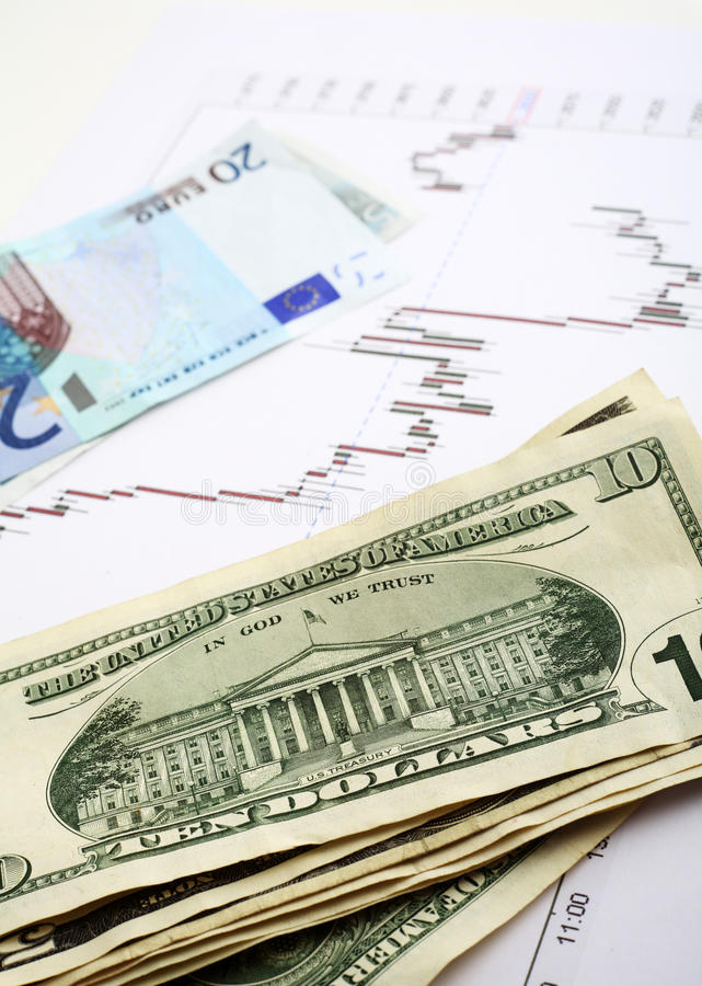 Euro- vertical da troca de dólar imagem de stock