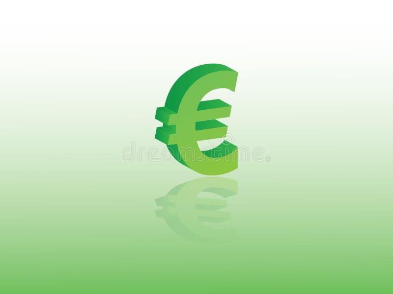 Euro vettore di simbolo di valuta dell'Unione Europea facendo uso di colore verde su fondo leggero illustrazione di stock
