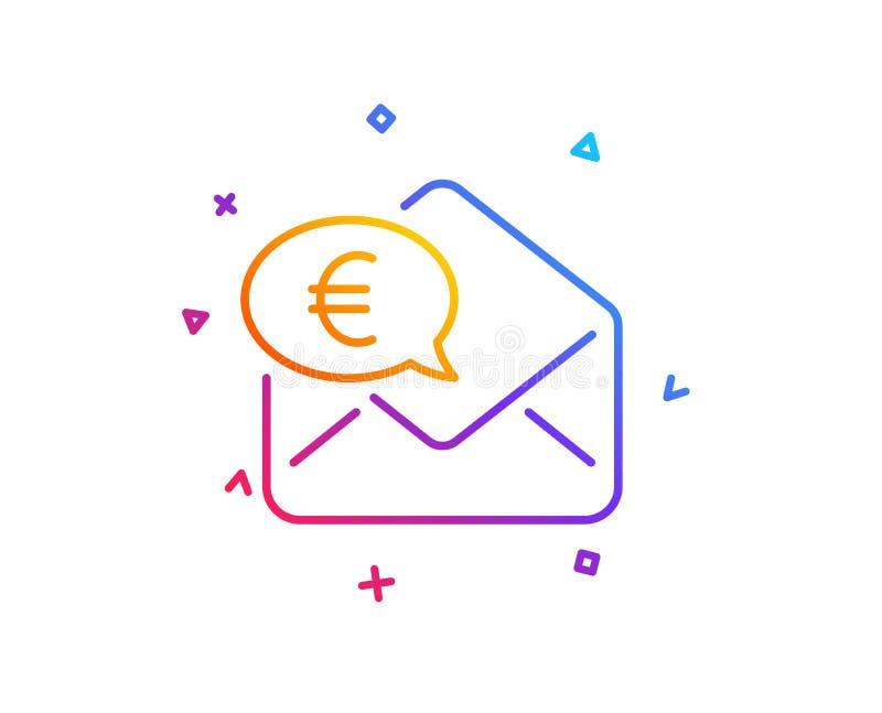 Euro via mail line icon. Send or receive money sign. Vector. Euro via mail line icon. Send or receive money sign. Gradient line button. Euro money icon design royalty free illustration