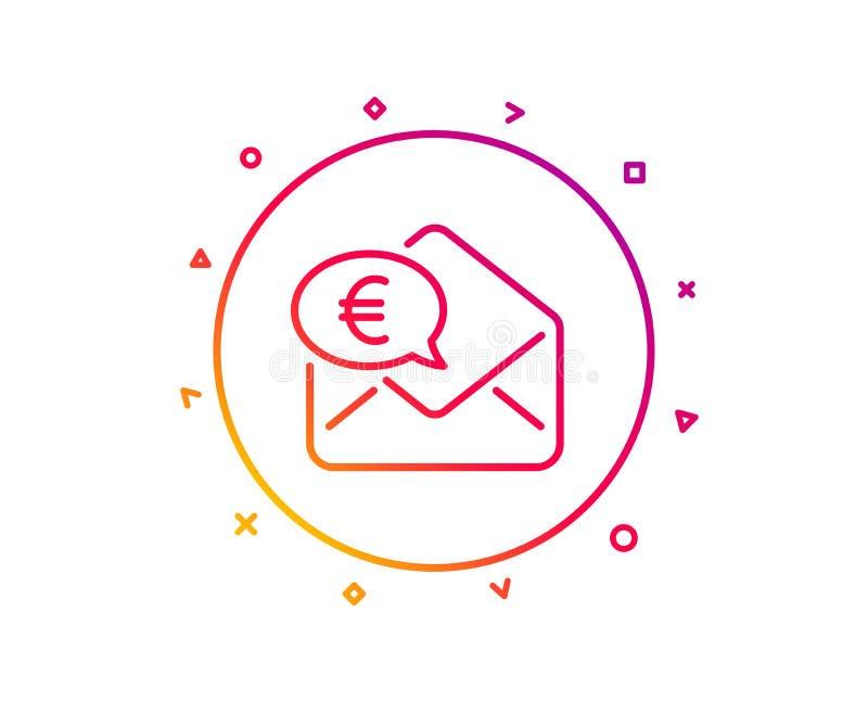 Euro via mail line icon. Send or receive money sign. Vector. Euro via mail line icon. Send or receive money sign. Gradient pattern line button. Euro money icon royalty free illustration