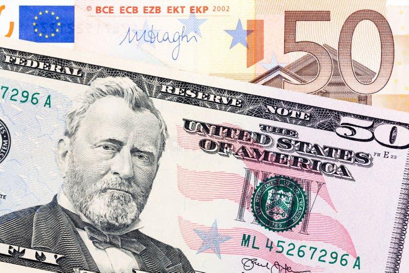 Euro vijftig en dollarbankbiljet royalty-vrije stock fotografie
