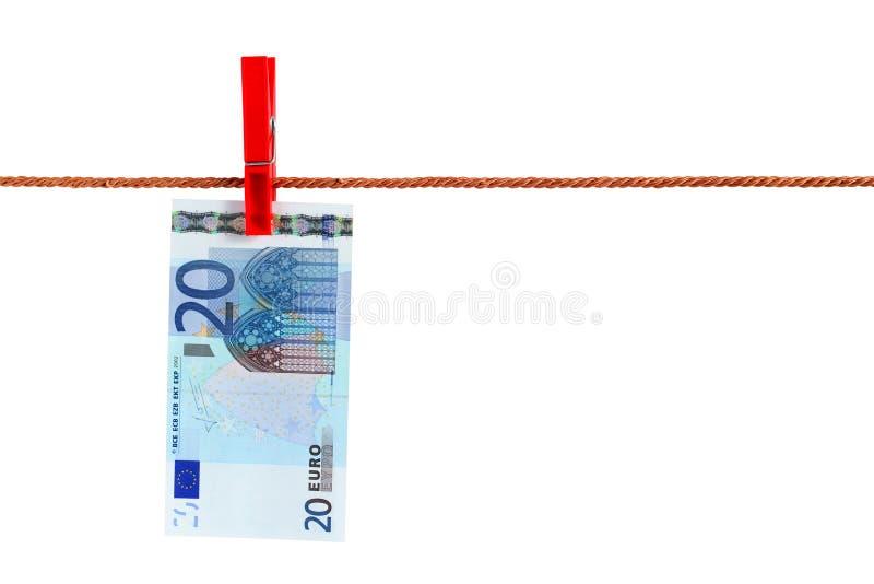 Euro vinte na corda foto de stock royalty free