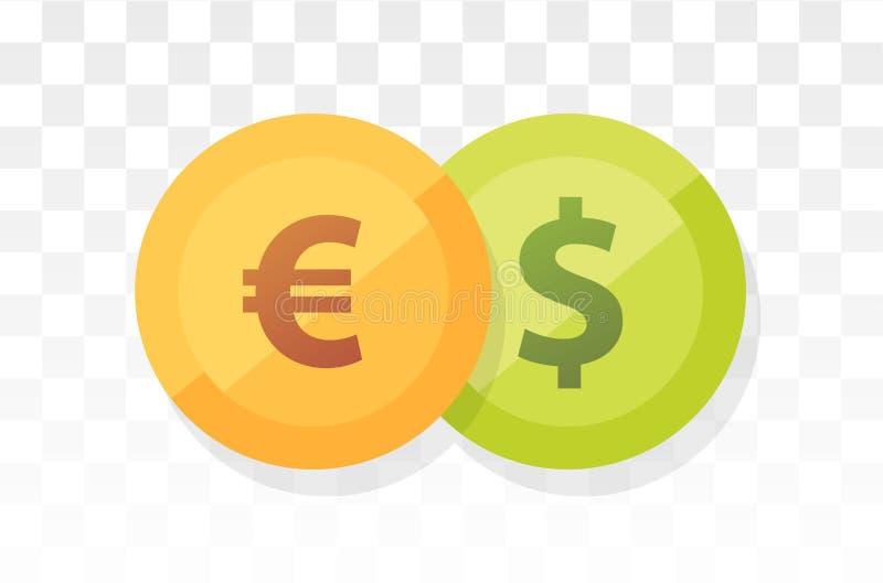 Euro vs Amerykański dolar - waluty para na przezroczystości i bielu tle royalty ilustracja