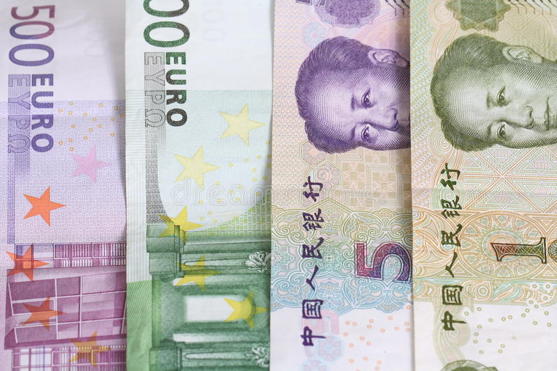 Euro vs. Yuan. In the time of financial crises in the europe region royalty free stock photos