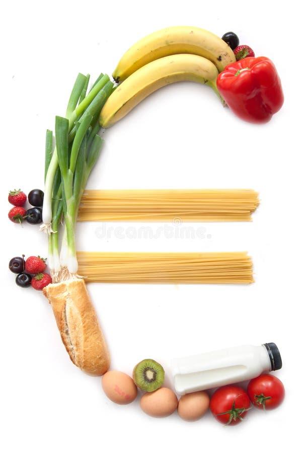 Euro waluta symbolu jedzenia sklepy spożywczy zdjęcia royalty free