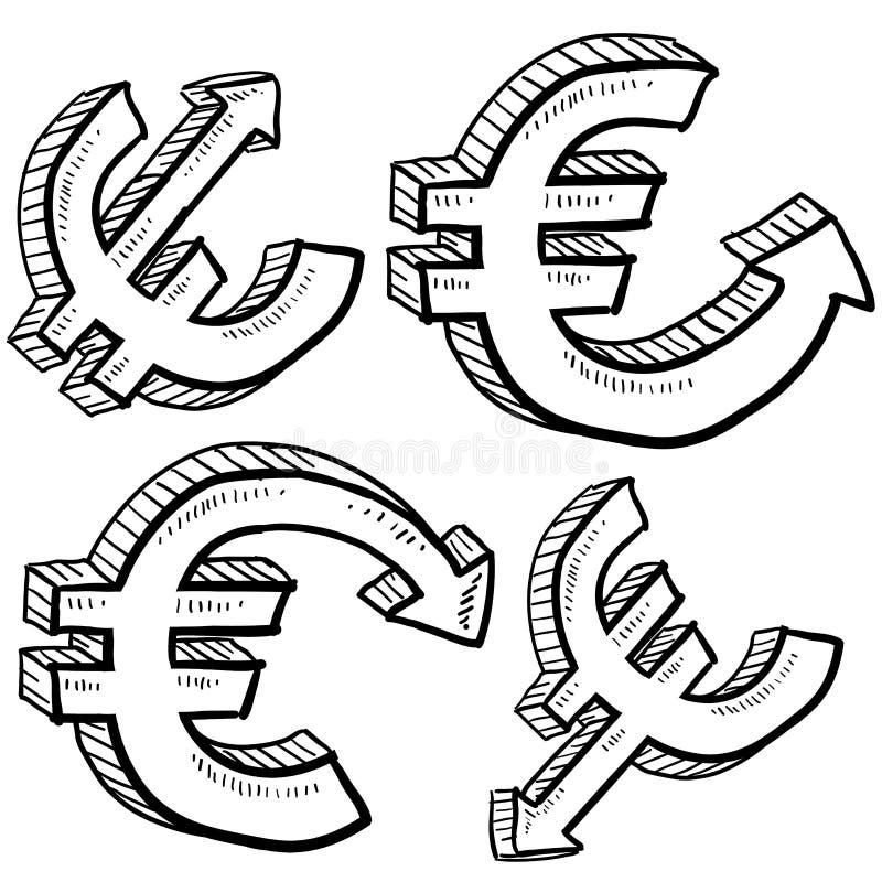Euro waluty wartości nakreślenie royalty ilustracja