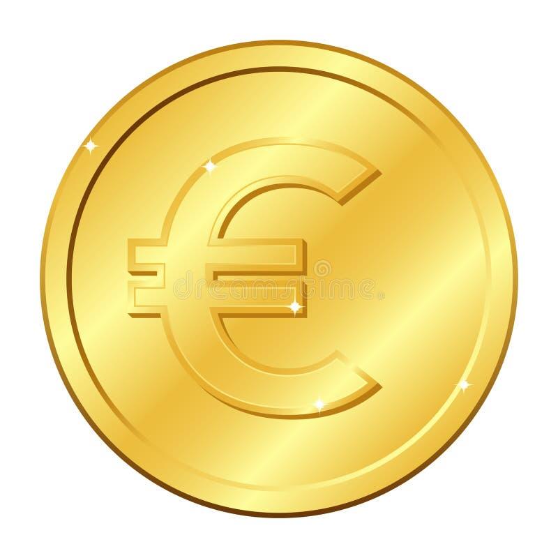 Euro waluty złocista moneta Wektorowa ilustracja odizolowywająca na biały tle Editable świecenie i elementy ilustracja wektor