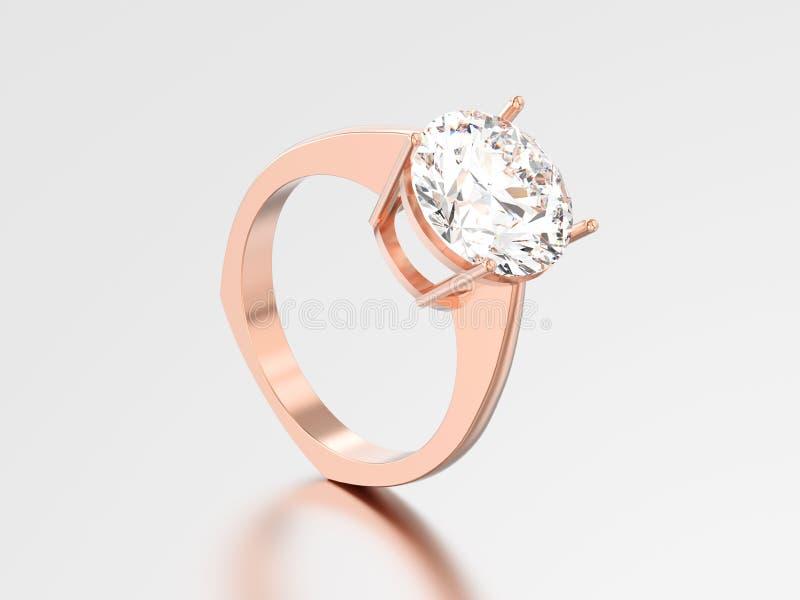 euro wi dell'anello di stile di impegno rosa dell'oro isolati illustrazione 3D royalty illustrazione gratis