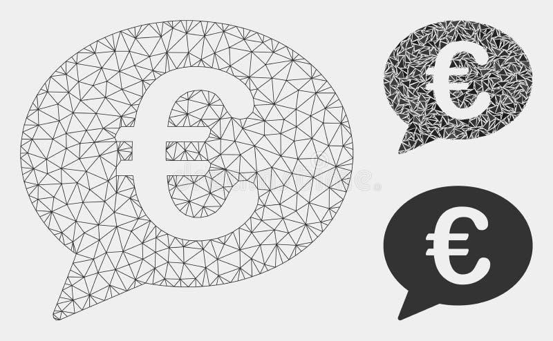 Euro wiadomość balonu siatki ścierwa trójboka i modela mozaiki Wektorowa ikona ilustracji