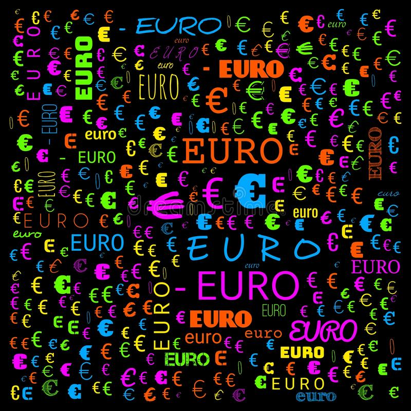 Euro word cloud,icon,word cloud use for banner, painting, motivation, web-page, website background, t-shirt & shirt printing,. Poster, gritting ( royalty free illustration