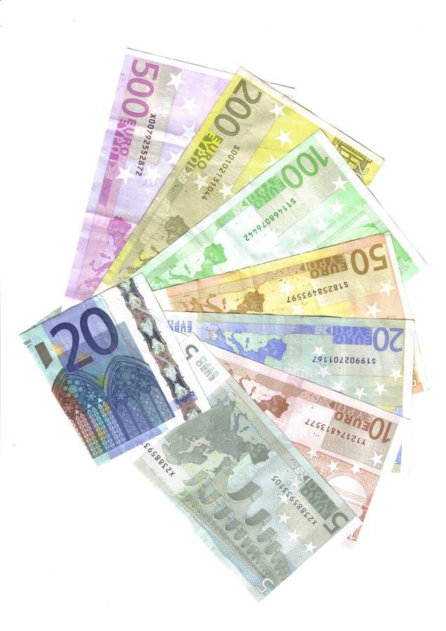 euro wszystkie banknoty obraz stock