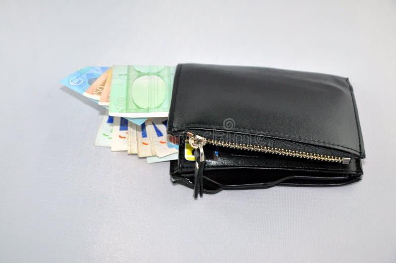 Euro y cartera imagen de archivo